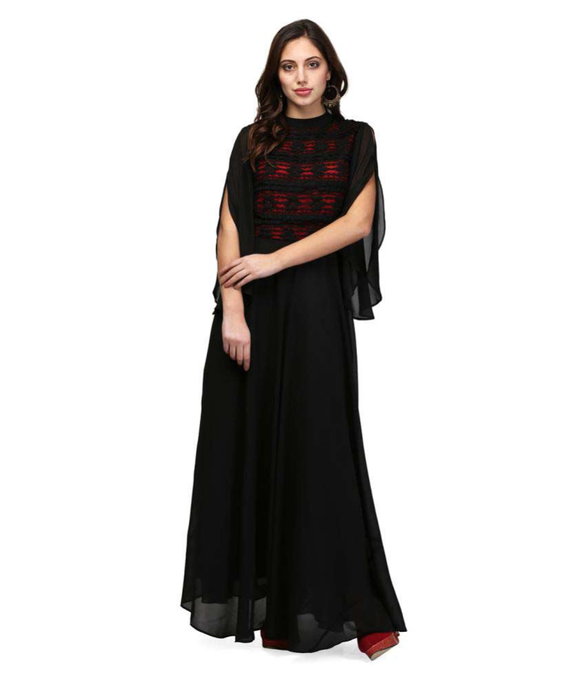 V&M Georgette Black Regular Dress