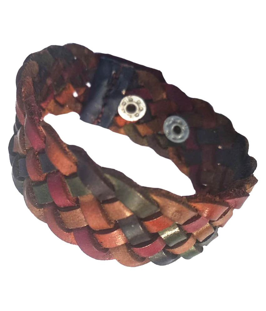 Forever99 Latest Genuine Leather Handmade Braided Bracelet for Men and Women Leather For young Boy & Men