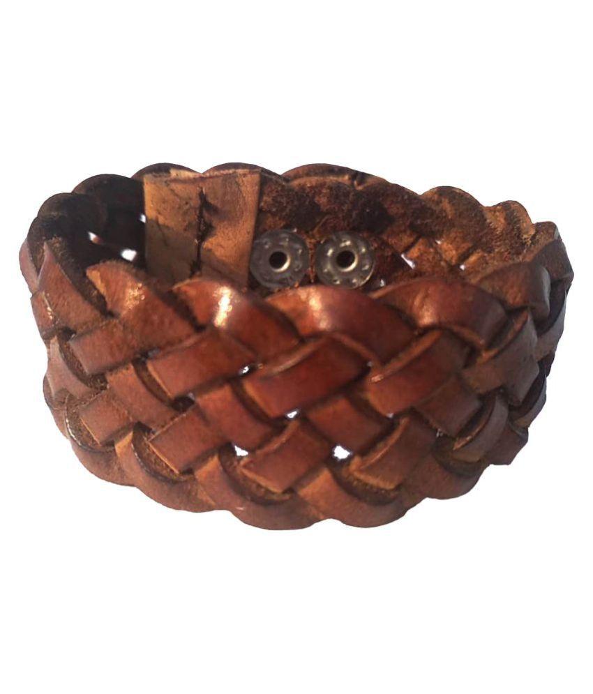 Leather bracelet for Men: ; Boys Tan*Handcrafted; Wrist Band For Men