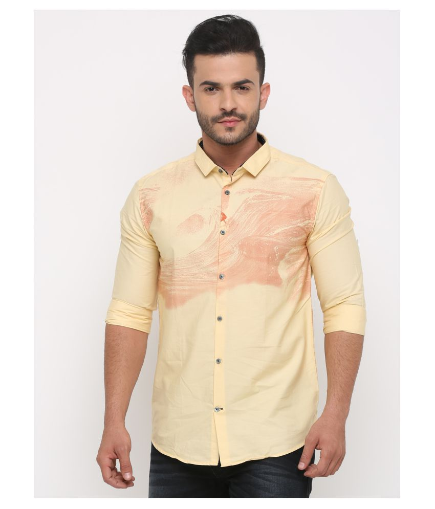 WITH 100 Percent Cotton Yellow Solids Shirt