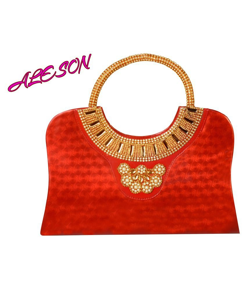 ALESON Red Non Leather Handheld