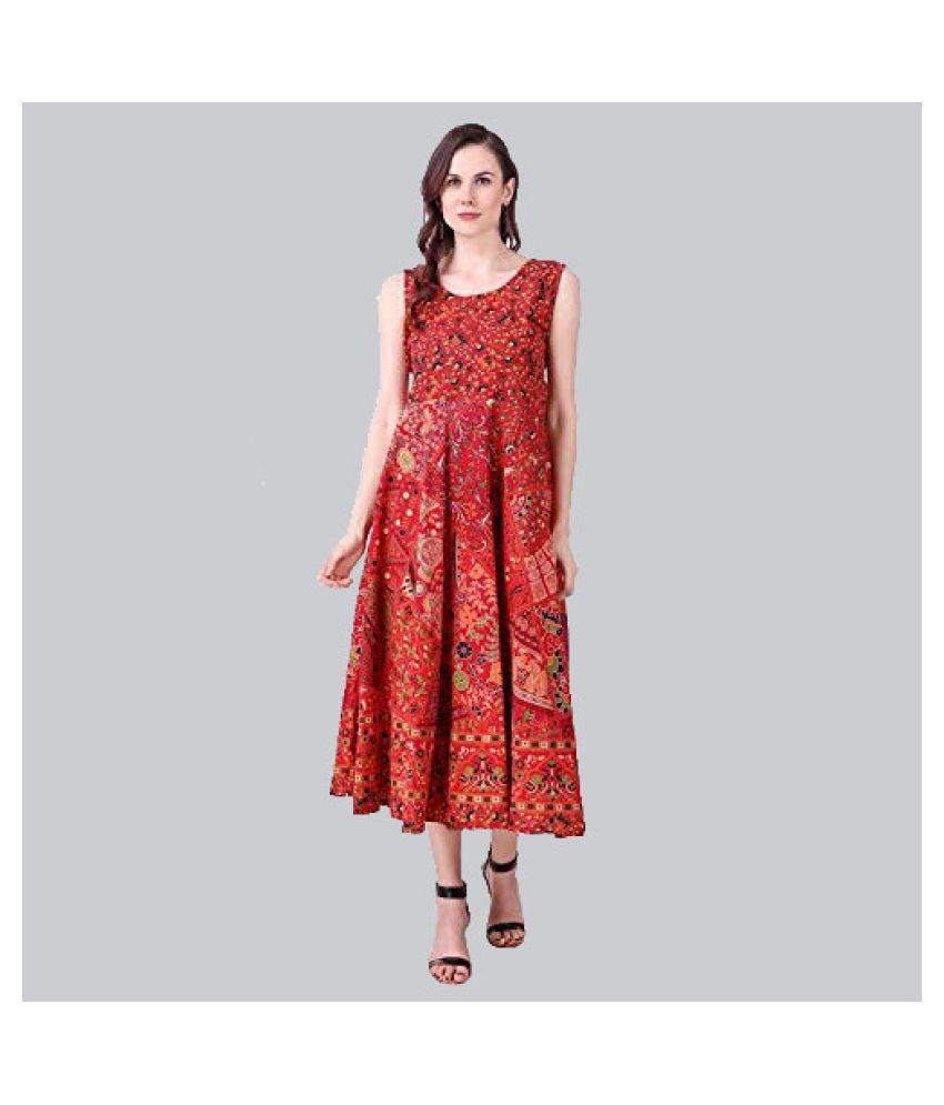 Rangun Cotton Red Regular Dress