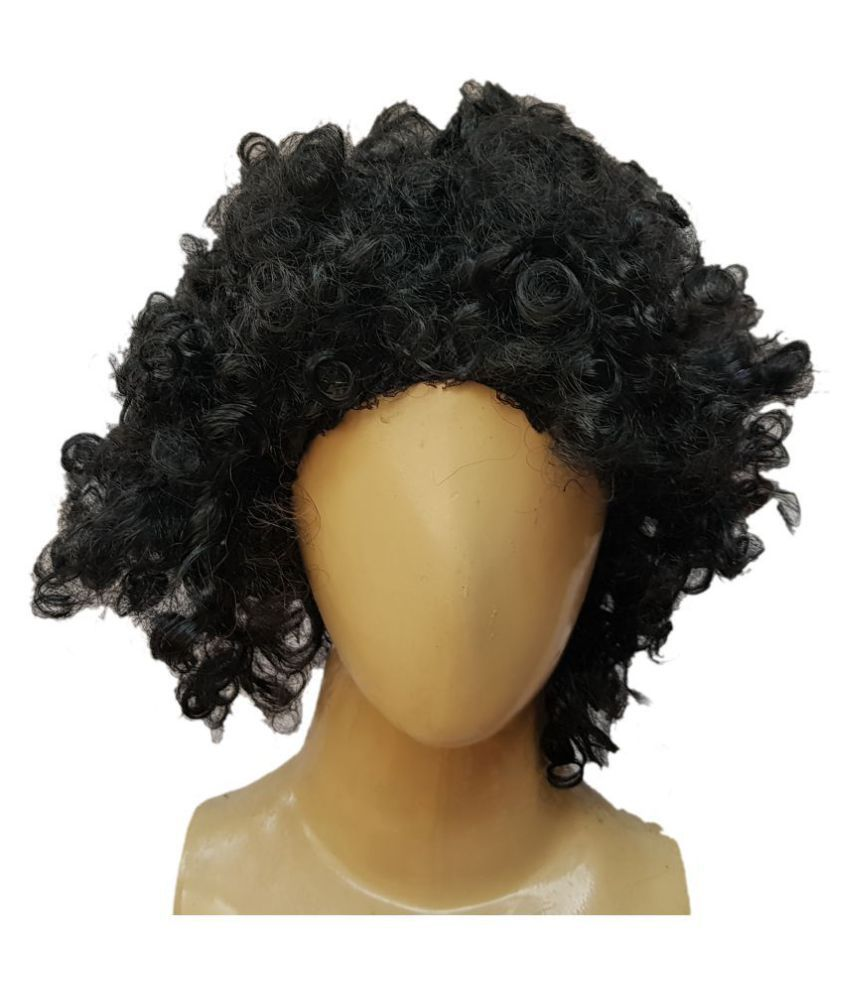 Kaku Fancy Dresses Black Color Malinga Wig For Kids School Annual function/Theme Party/Competition/Stage Shows/Birthday Party Dress