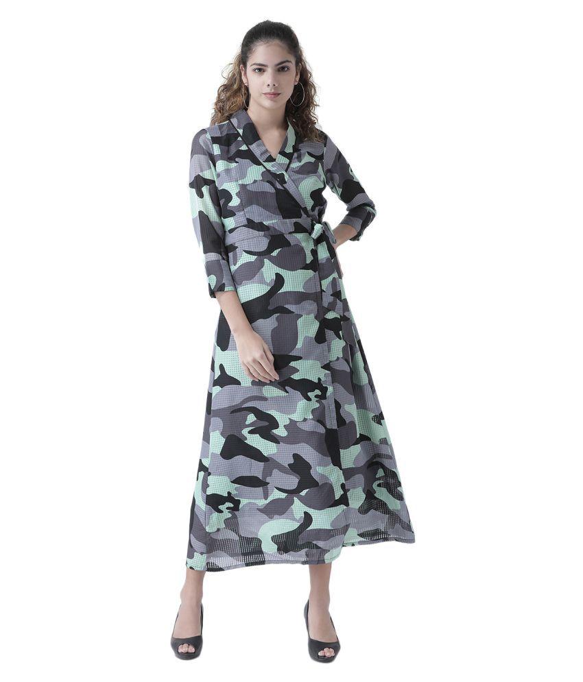 Texco Georgette Multi Color Wrap Dress