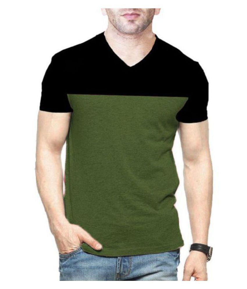Veirdo 100 Percent Cotton Green Color Block T-Shirt