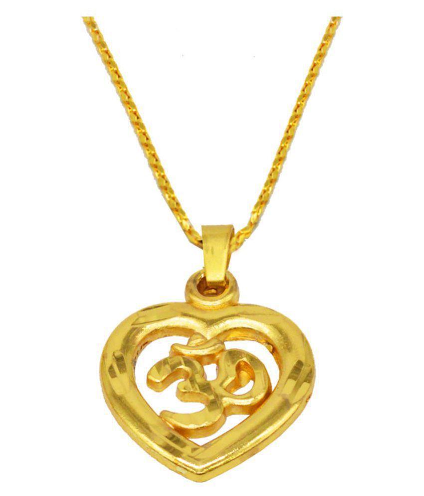 Men style Heart Shape Yoga Om Gold-plated Brass Pendant Set