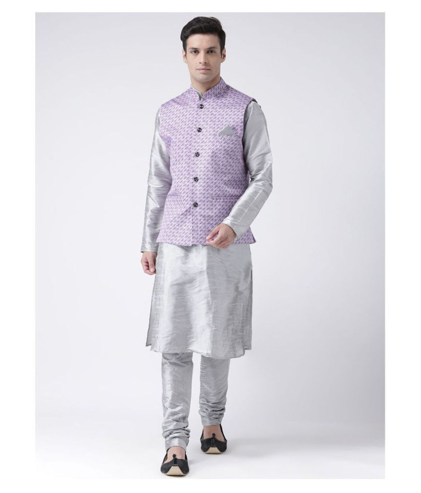 Deyann Silver Linen Kurta Pyjama Set