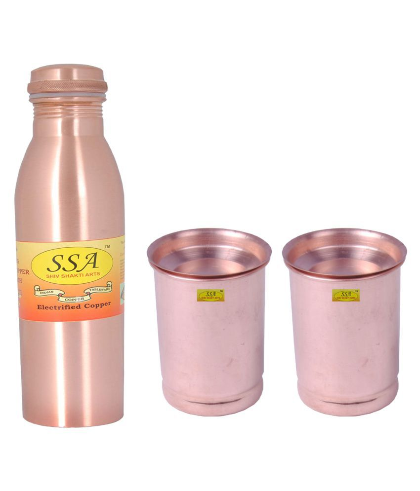 Shiv Shakti Arts Bottle & Glasses Set 2 Pcs Lemon set
