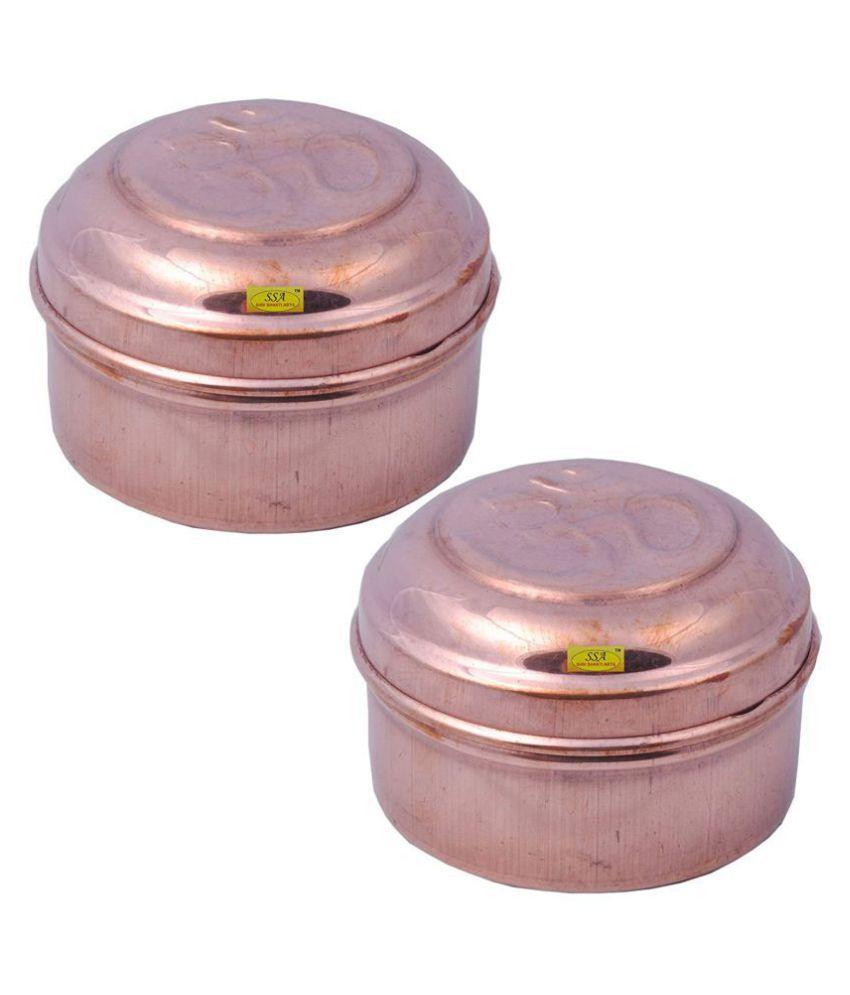 Shiv Shakti Arts box for storage Copper Food Container Set of 2 100 mL