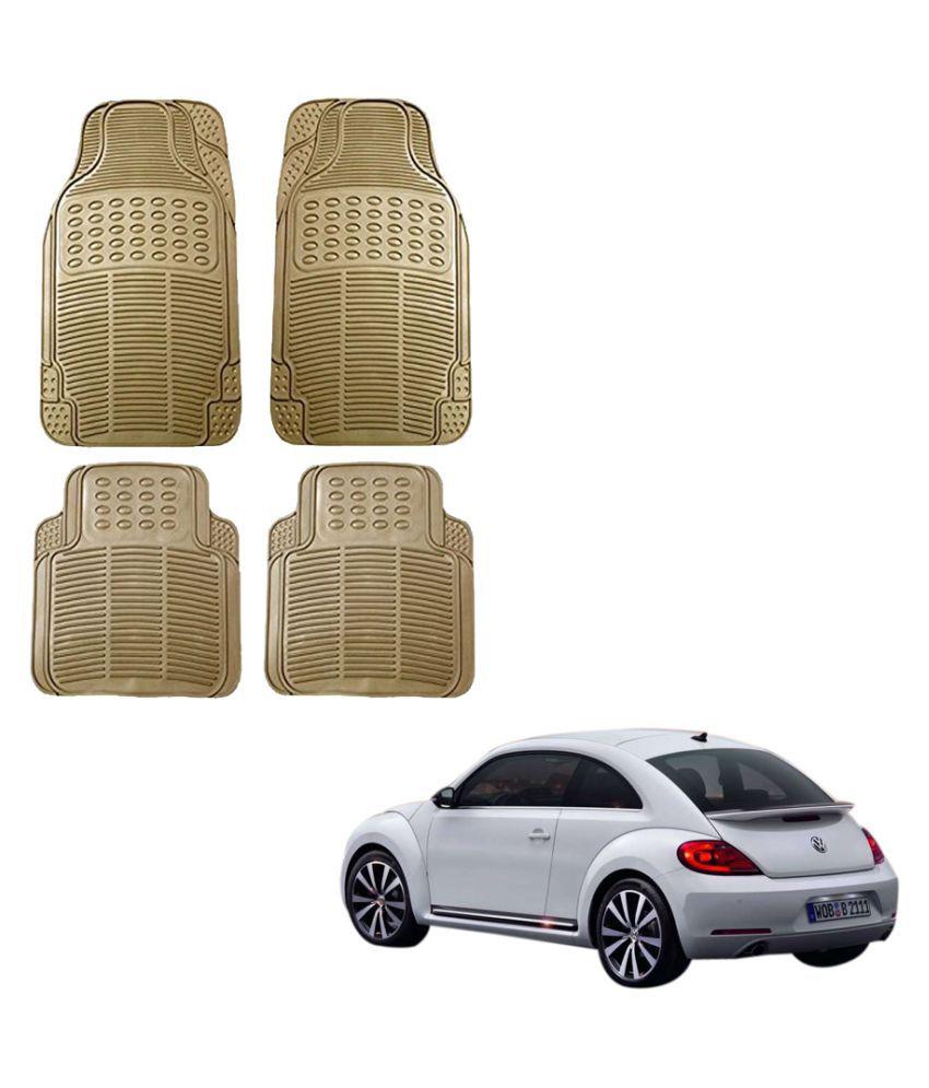 Auto Addict Car Simple Rubber Beige Mats Set of 4Pcs For Volkswagen Beetle
