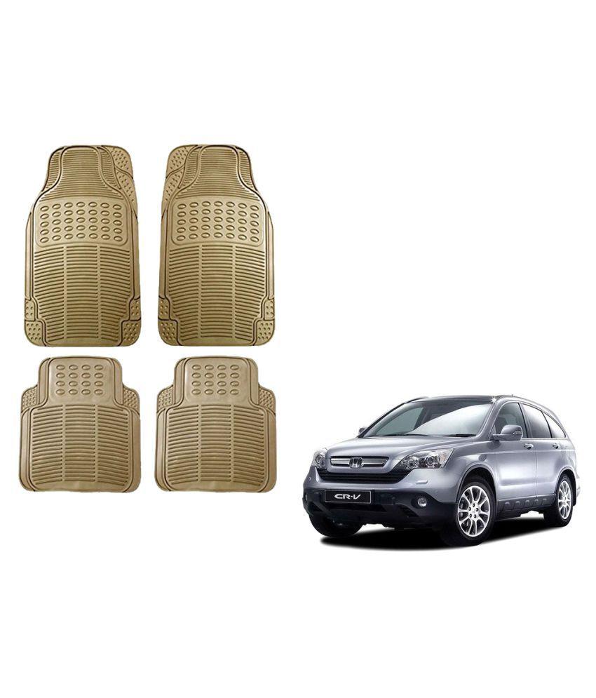 Auto Addict Car Simple Rubber Beige Mats Set of 4Pcs For Honda CR-V