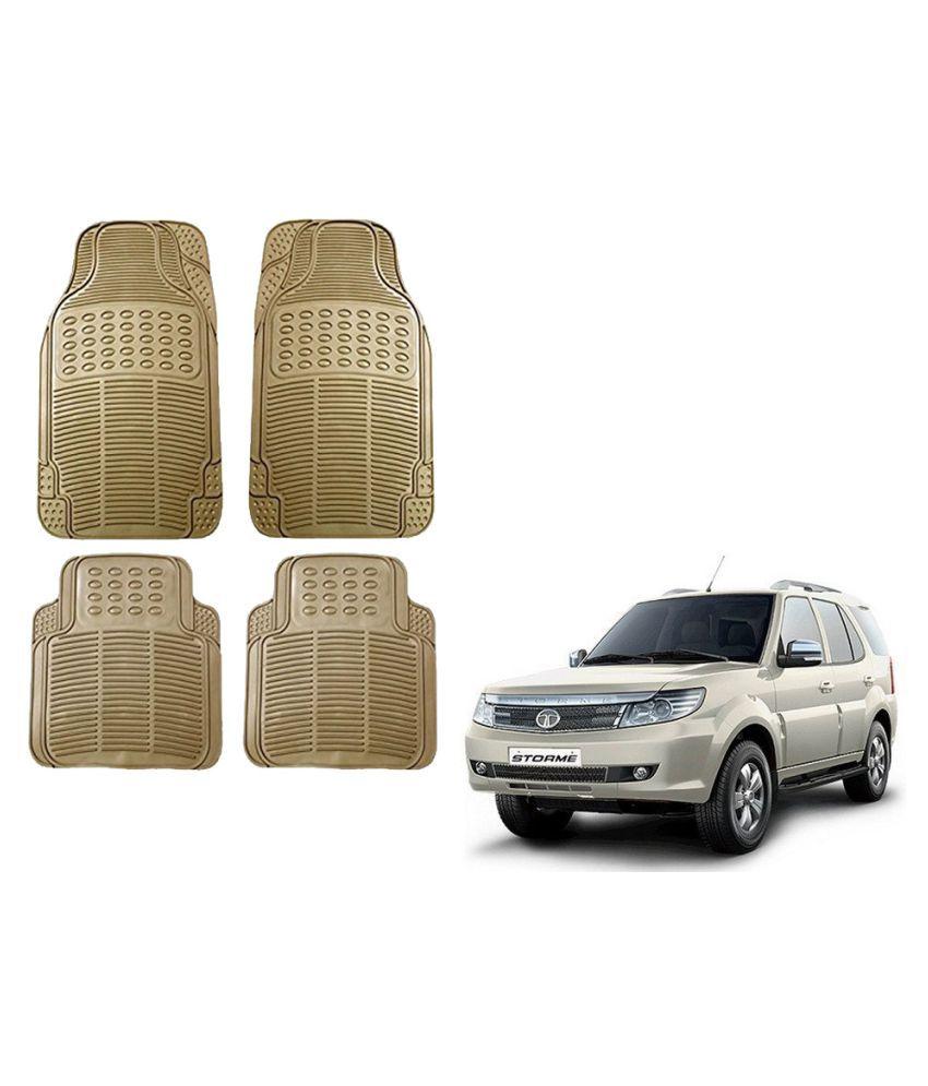 Auto Addict Car Simple Rubber Beige Mats Set of 4Pcs For Tata Safari Storme