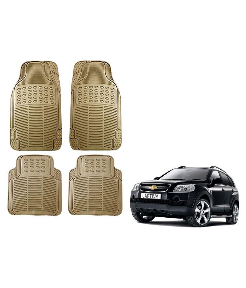 Auto Addict Car Simple Rubber Beige Mats Set of 4Pcs For Chevrolet Captiva