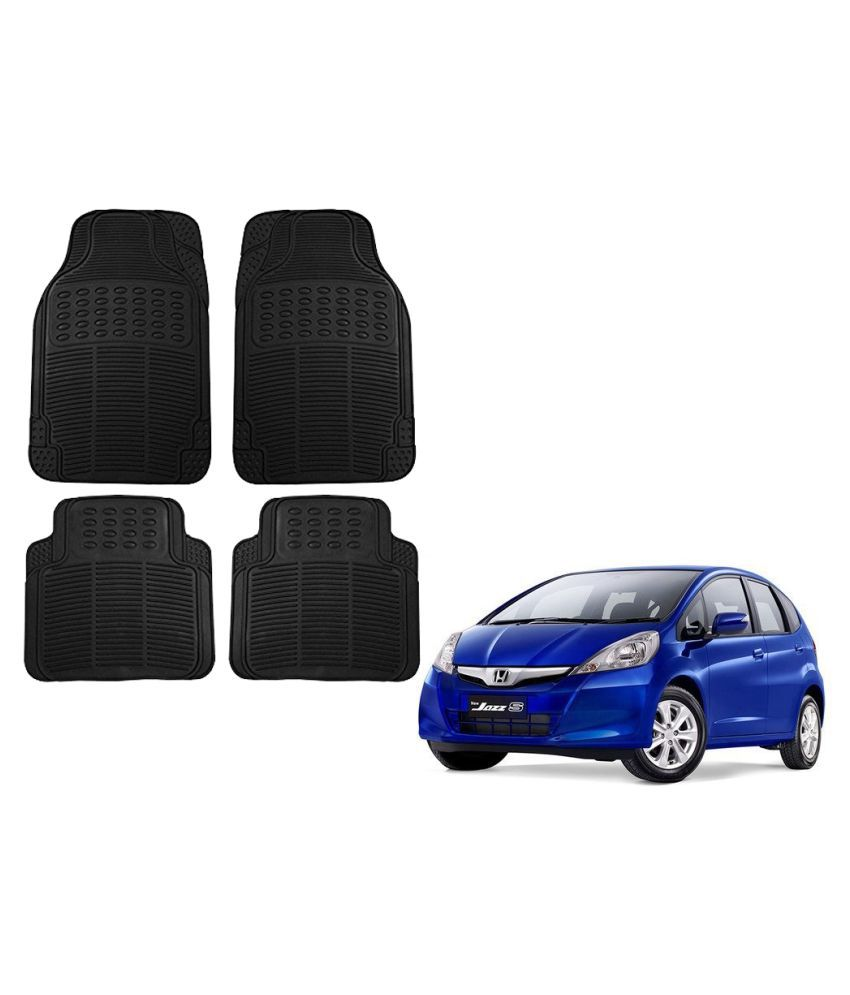 Auto Addict Car Simple Rubber Black Mats Set of 4Pcs For Honda Jazz