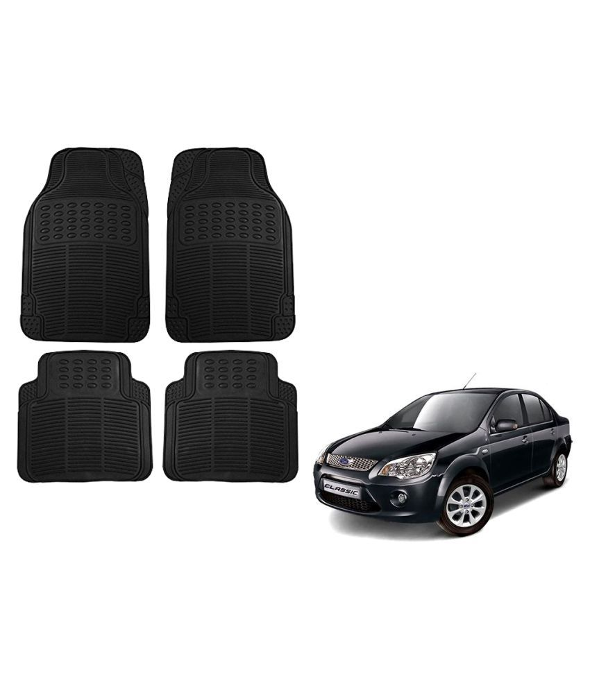 Auto Addict Car Simple Rubber Black Mats Set of 4Pcs For Ford Fiesta Classic