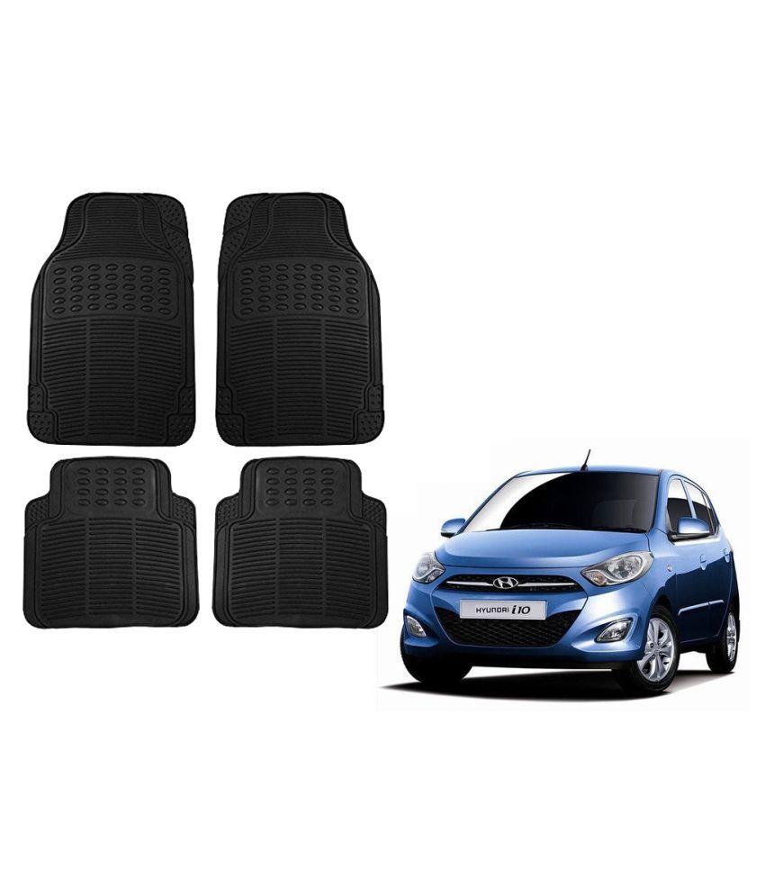 Auto Addict Car Simple Rubber Black Mats Set of 4Pcs For Hyundai i10