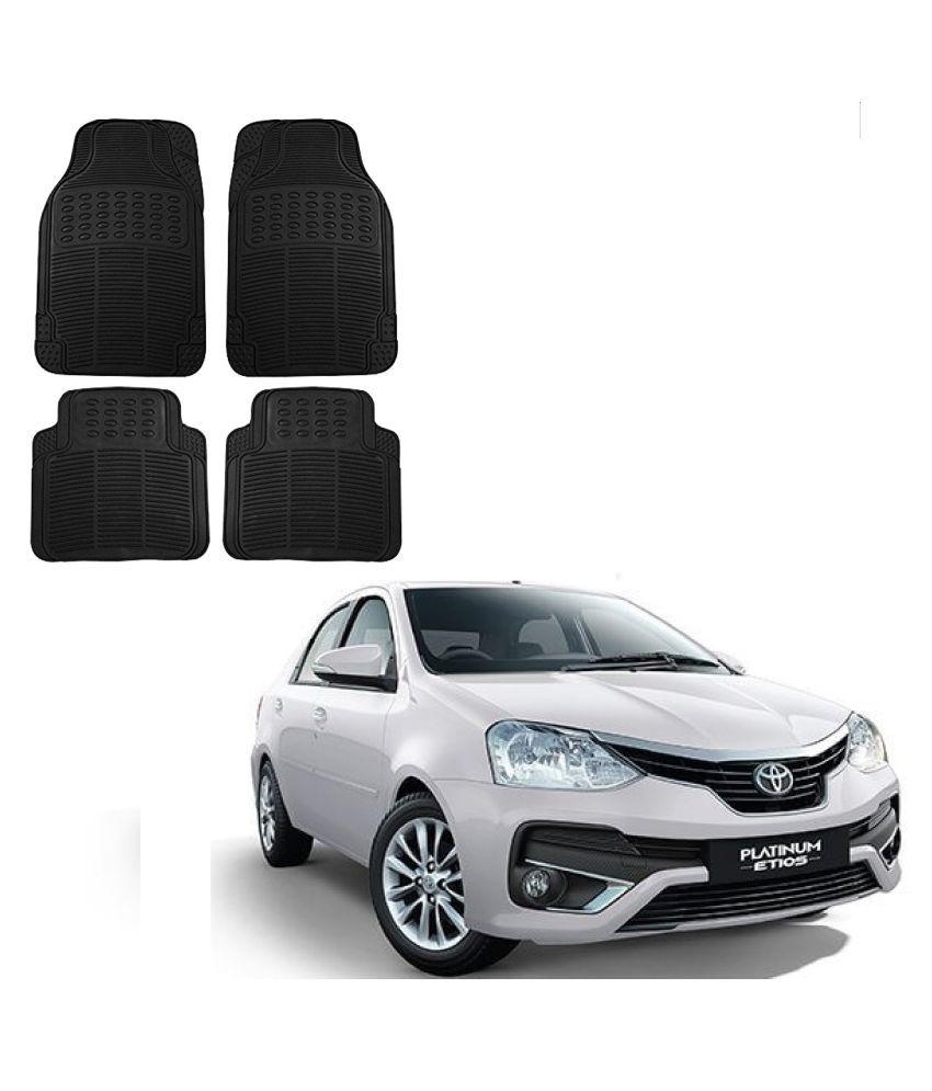 Auto Addict Car Simple Rubber Black Mats Set of 4Pcs For Toyota Etios Platinum