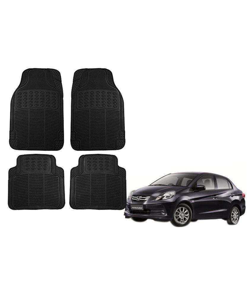 Auto Addict Car Simple Rubber Black Mats Set of 4Pcs For Honda Amaze