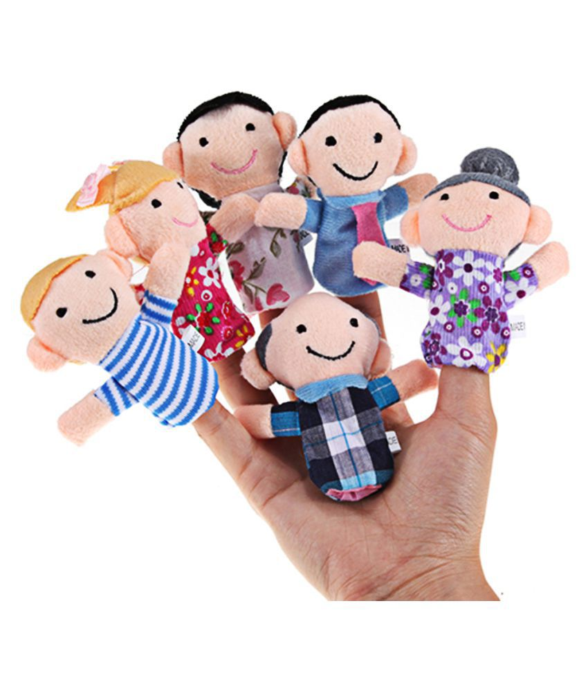6pcs Baby Kids Plush Cloth Play Game Learn Story Family Finger Puppets Toys