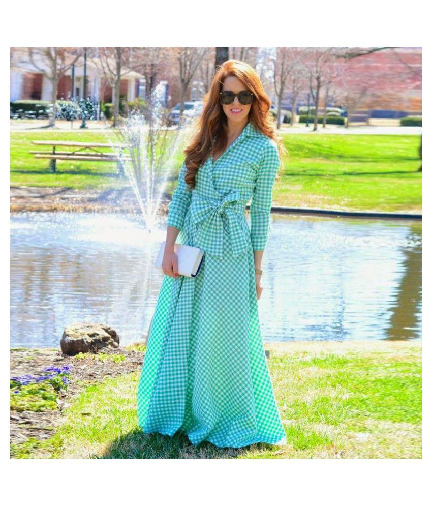 AWESOME FA Crepe Turquoise Wrap Dress