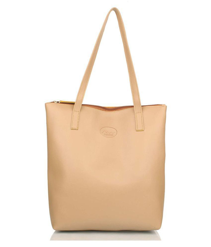 Mammon Beige P.U. Shoulder Bag