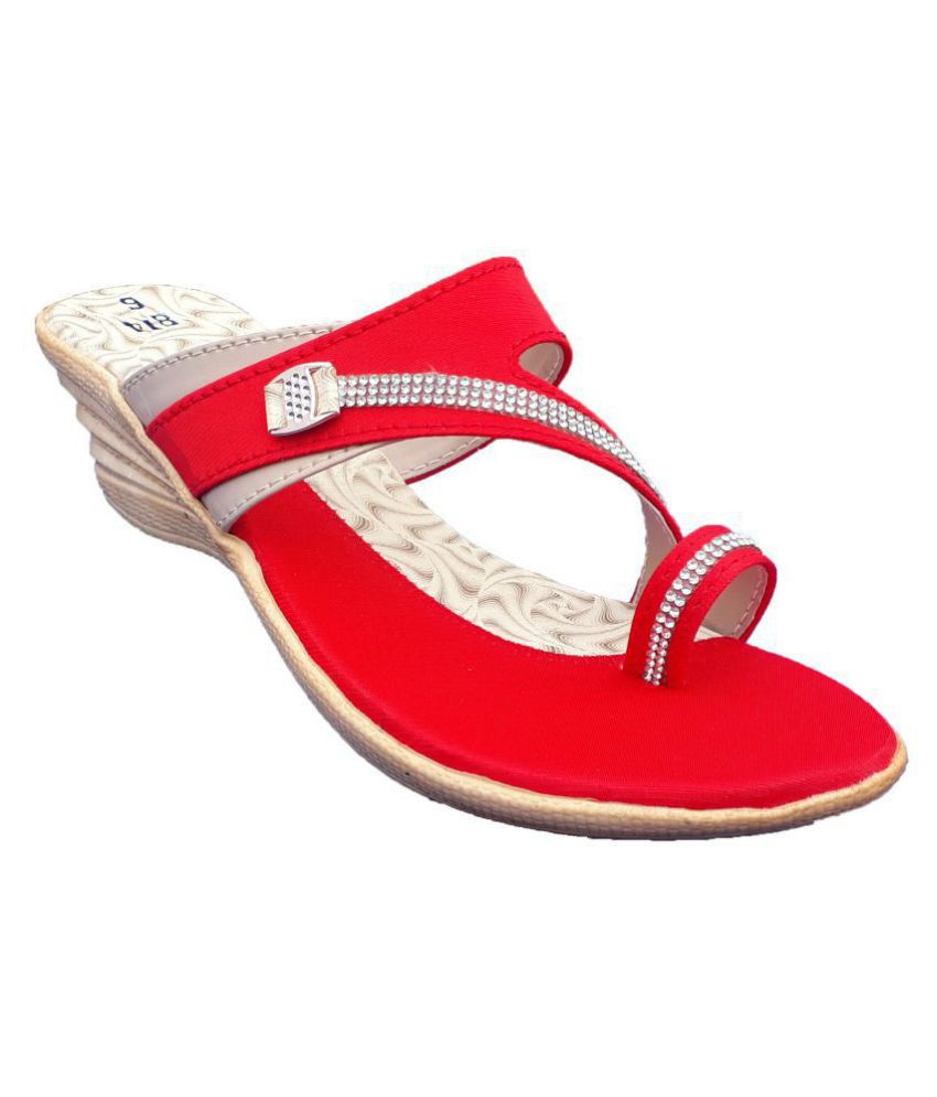 INDesital Red Wedges Heels