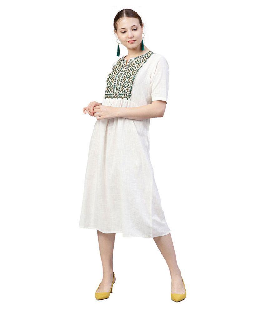 Jaipur Kurti Cotton White A- line Dress
