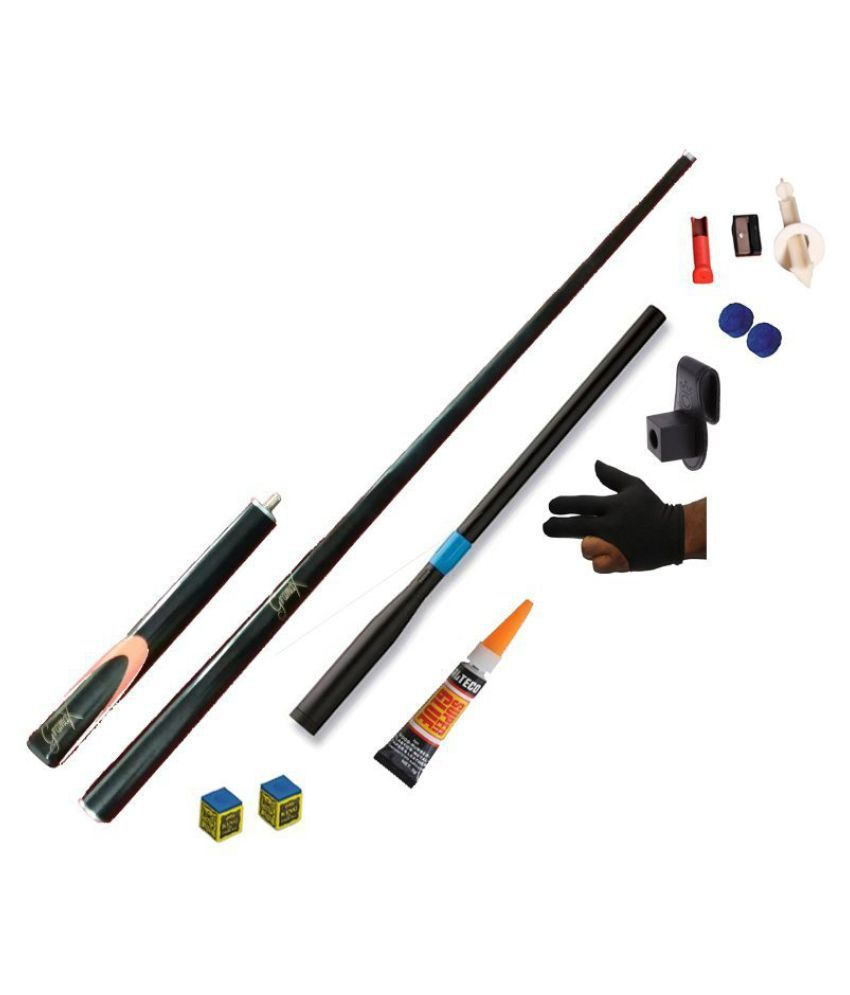 LGB Combo of Snooker and Pool GRAMAX CUE (Black)+Telescopic Extension+Glue Gel+2 Chalk+Glove+Chalk Holder+2TIP+TIP Modifier