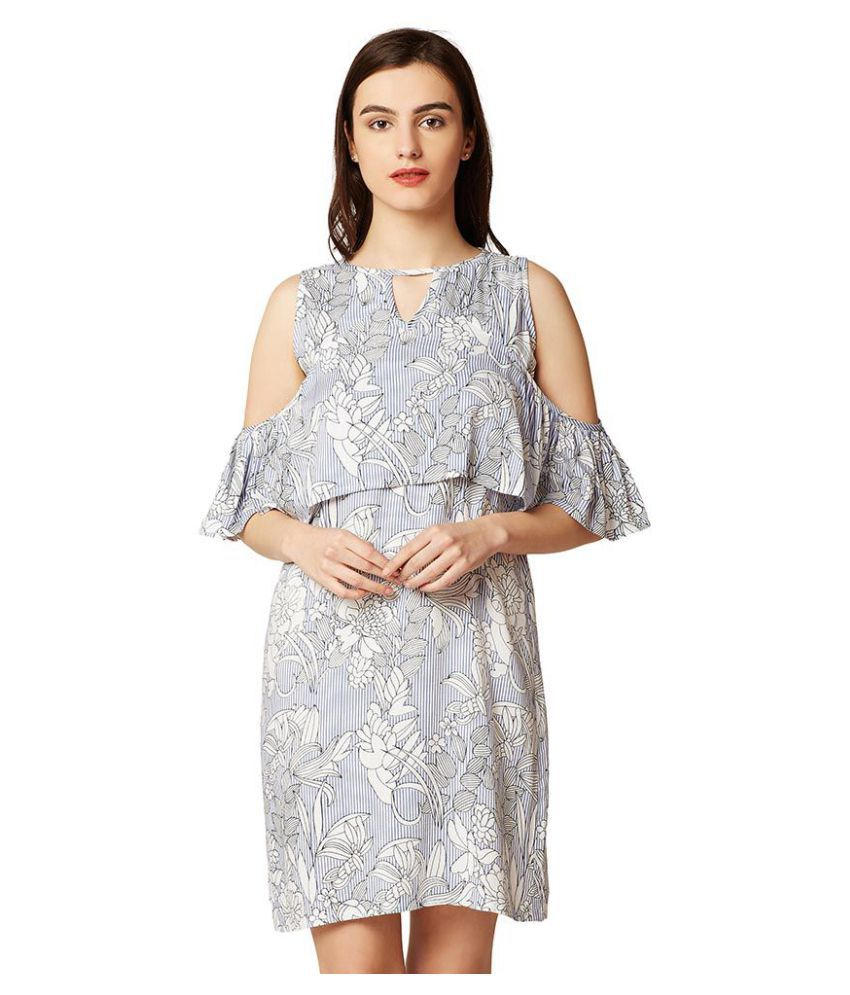 Miss Chase Rayon Multi Color Cut Out Dress