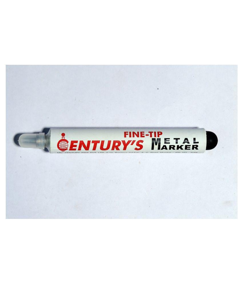 Century White Permanent Metal Marker Fine Tip