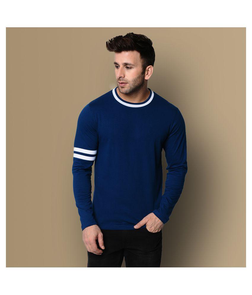Fenoix Cotton Blend Navy Solids T-Shirt