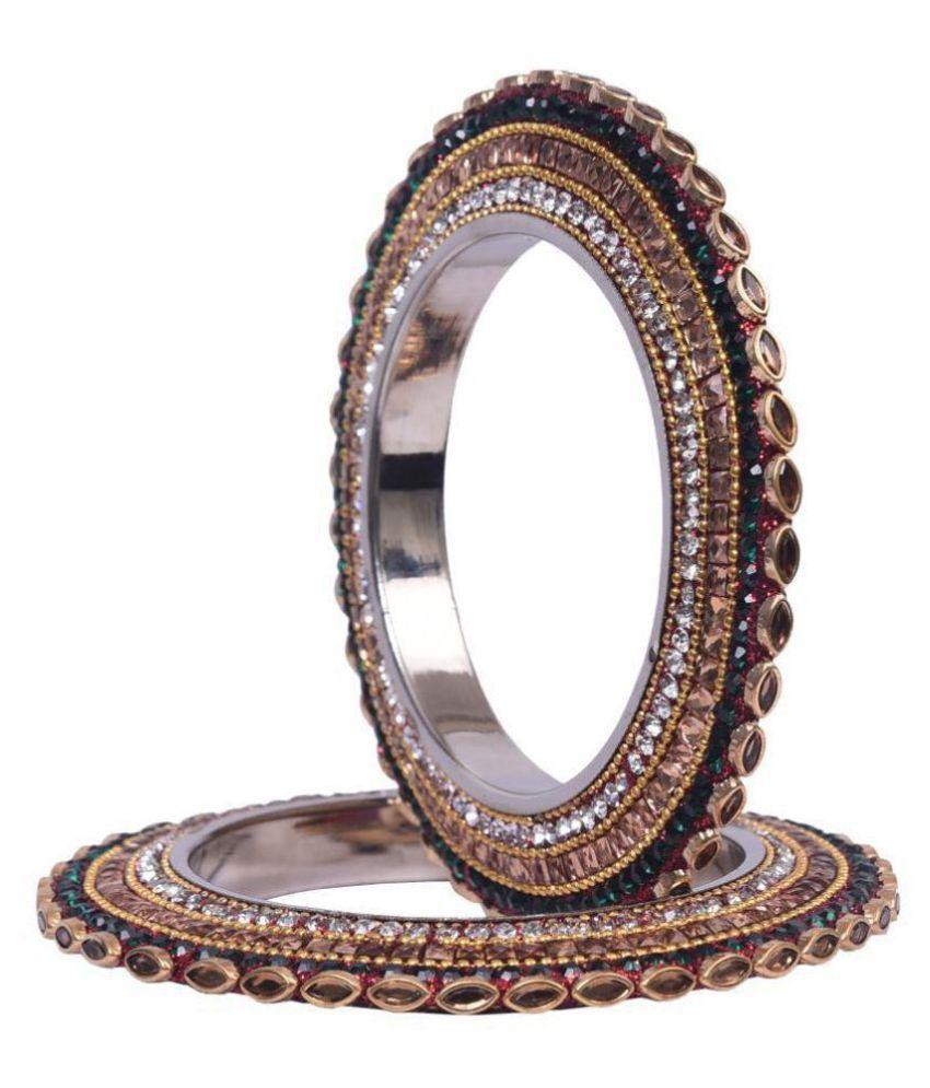 Sukriti Traditional Stylish GoldWhite Kundan Pacheli Bangadi Bangles for women (set of 2)