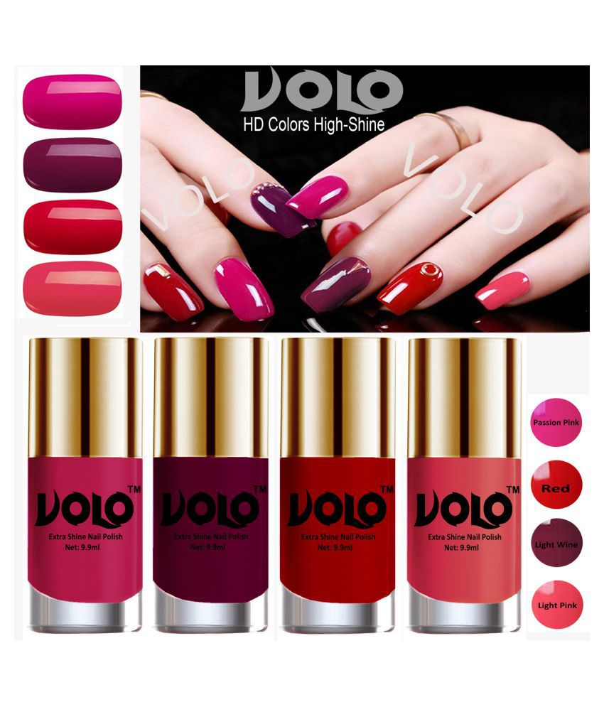 Volo Hd Colors High Shine Nail Polish Pink Red Wine Pink Glossy Pack Of 4 39 Ml