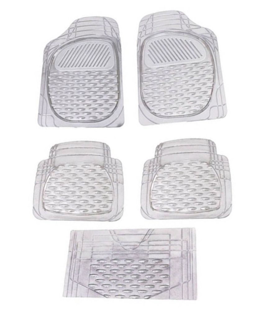 Autofetch Car Floor/Foot Mats (Set of 5) Transparent White for Toyota Corolla Altis (2012-2013)
