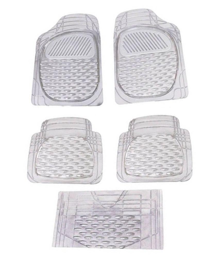Autofetch Car Floor/Foot Mats (Set of 5) Transparent White for Fiat Palio