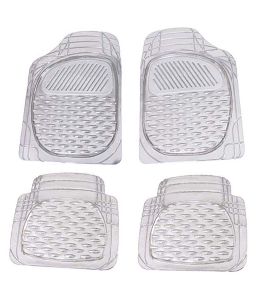 Autofetch Car Floor/Foot Mats (Set of 4) Transparent White for Maruti New Baleno