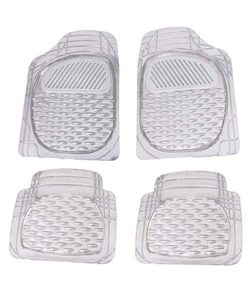 Autofetch Car Floor/Foot Mats (Set of 4) Transparent White for Maruti New Vitara Brezza