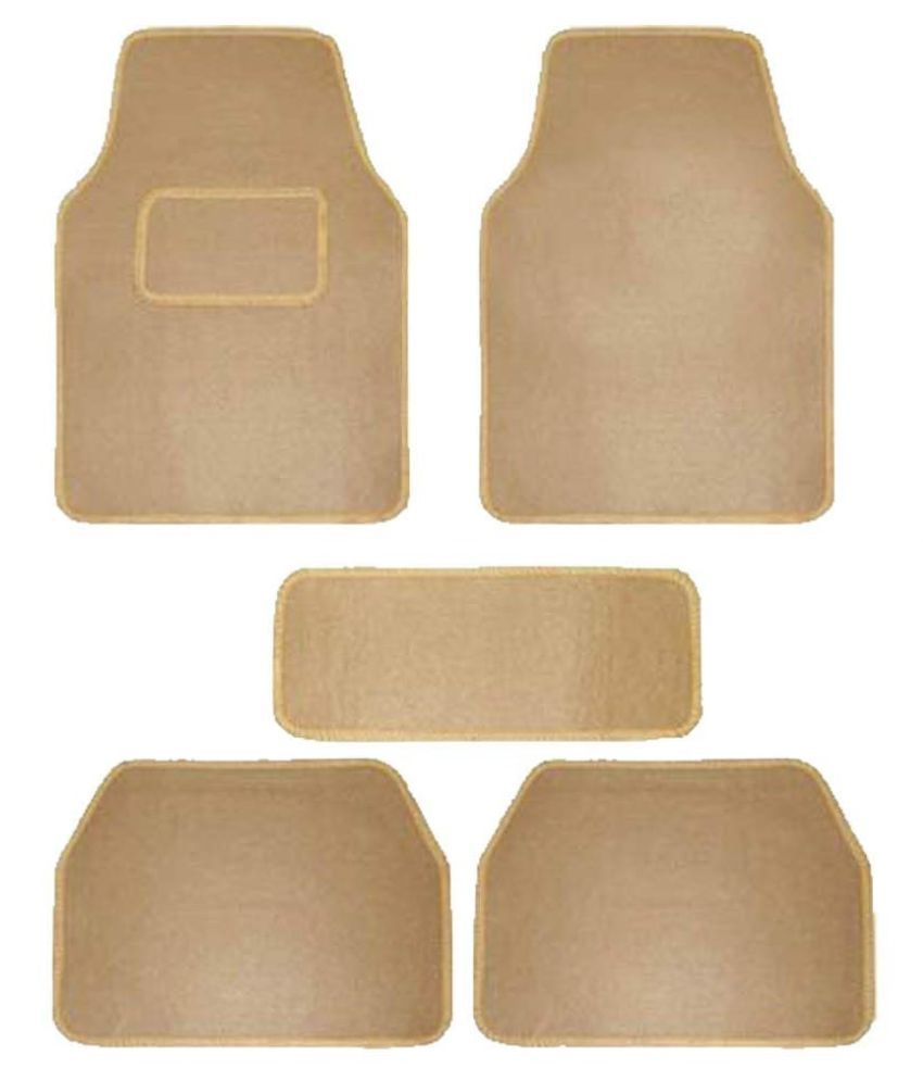 Autofetch Carpet Car Floor/Foot Mats (Set of 5) Beige for Hyundai i10 (2007-2015)
