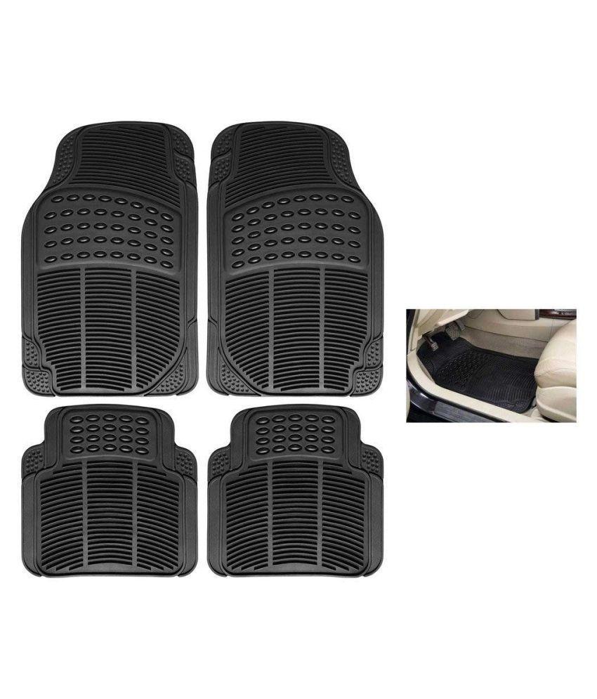 Autofetch Rubber Car Floor/Foot Mats (Set of 4) Black for Skoda Rapid