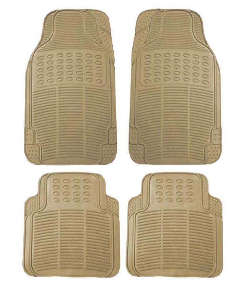 Autofetch Rubber Car Floor/Foot Mats (Set of 4) Beige for Honda City (2005-2015)
