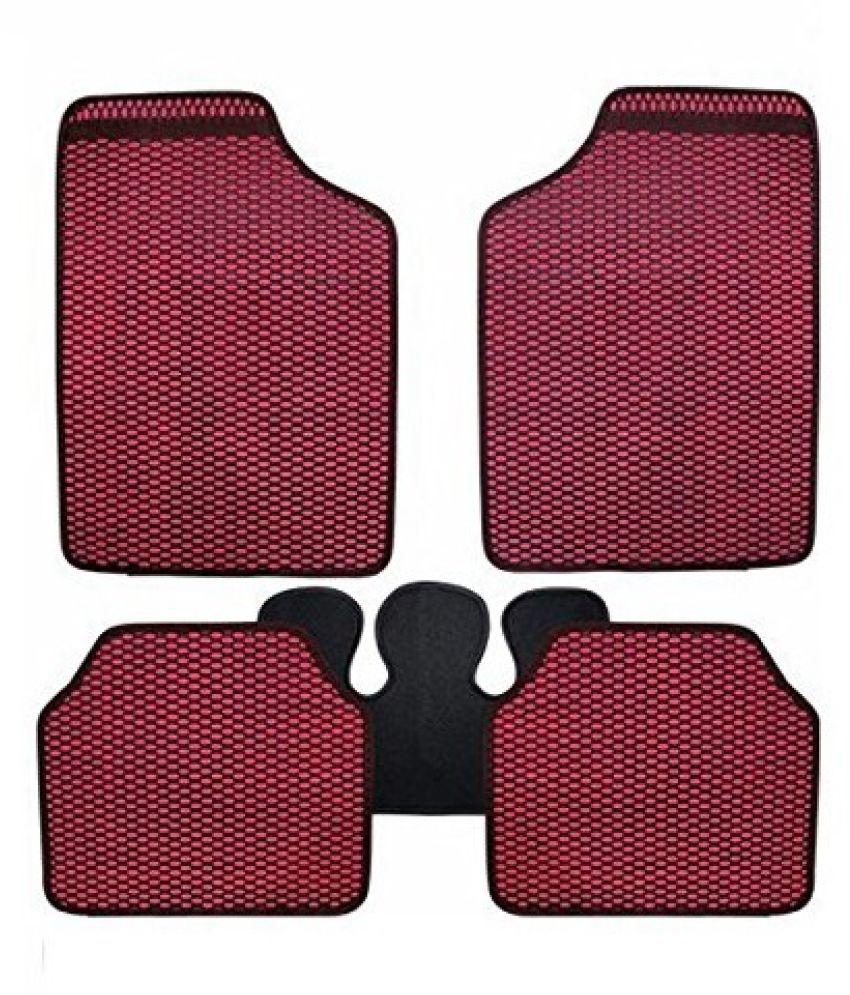 Autofetch Car Eclipse Odourless Floor/Foot Mats (Set of 5) Red for Maruti Suzuki Grand Vitara