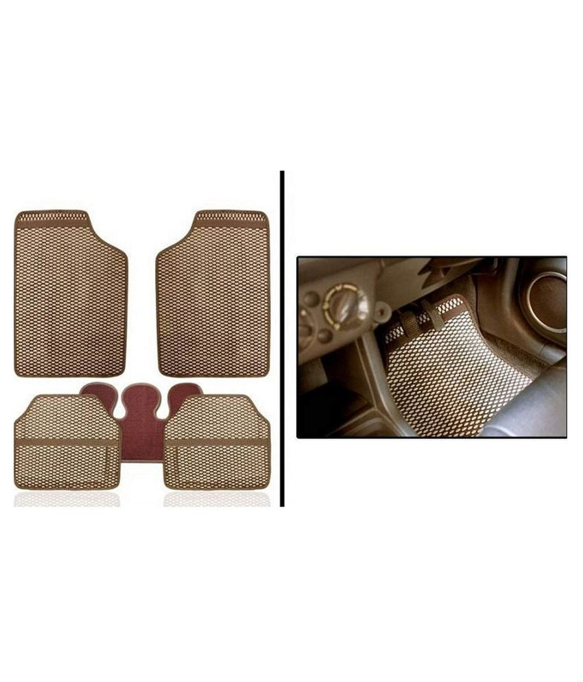 Autofetch Car Eclipse Odourless Floor/Foot Mats (Set of 5) Beige for Tata Manza