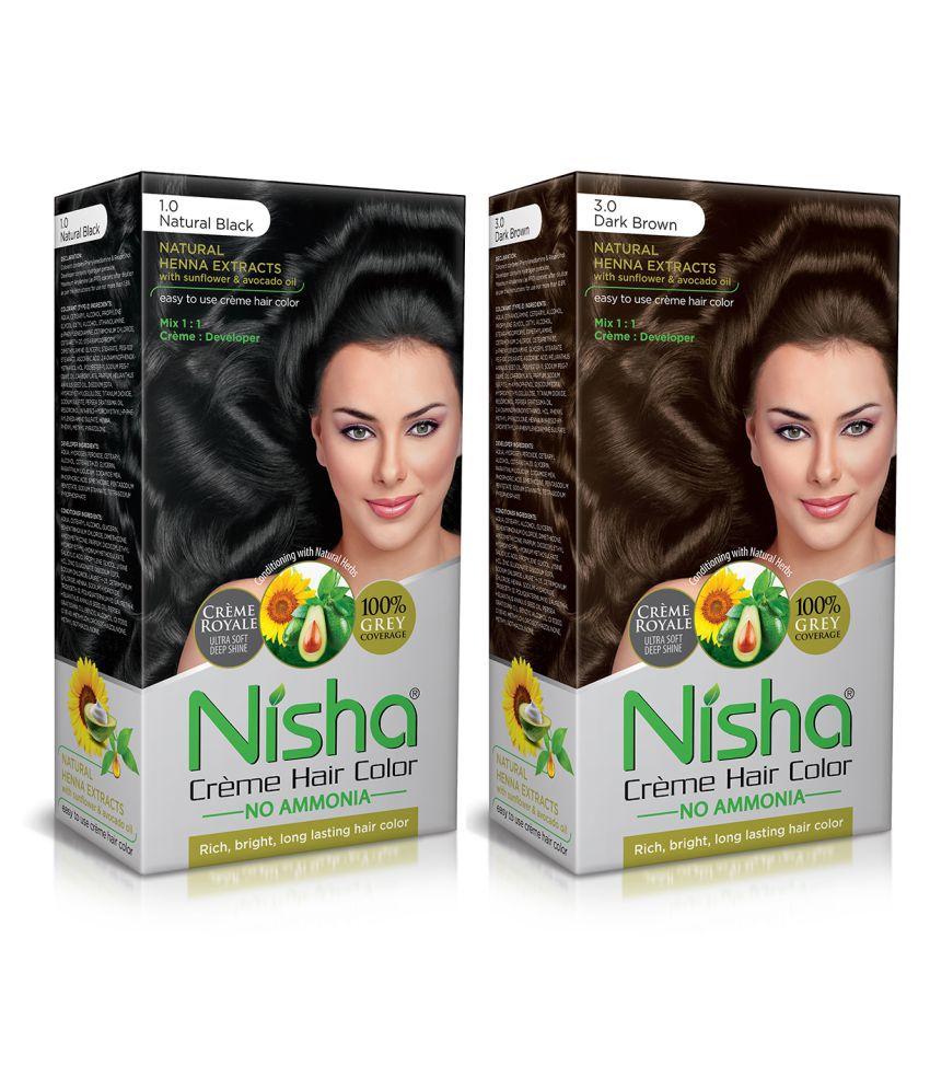 Nisha Permanent Hair Color Dark Brown Natural Black (Combo Pack) 120 mL