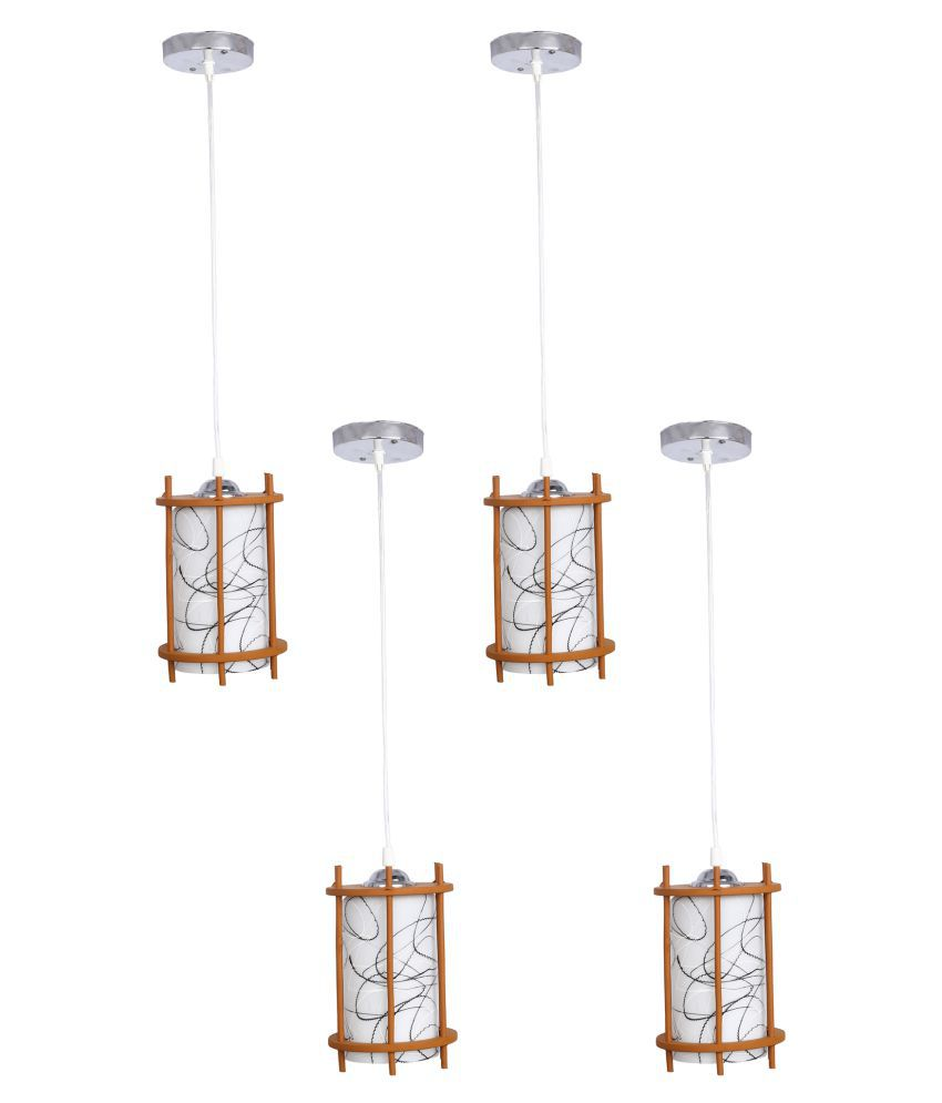 Somil Glass Exclusive Pendant White - Pack of 4