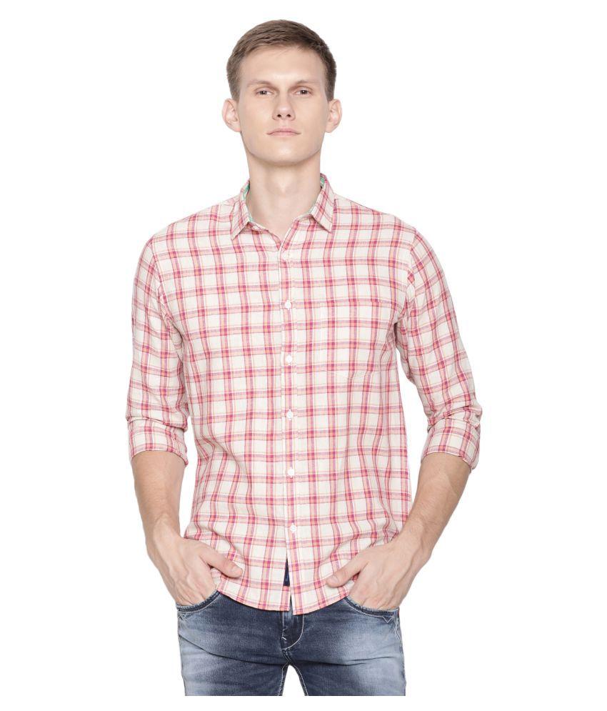 CAVALLO by Linen club Linen Red Checks Shirt