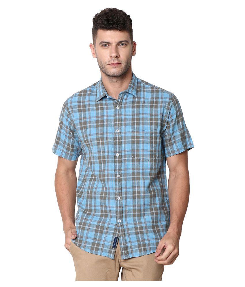 CAVALLO by Linen club Linen Blue Checks Shirt