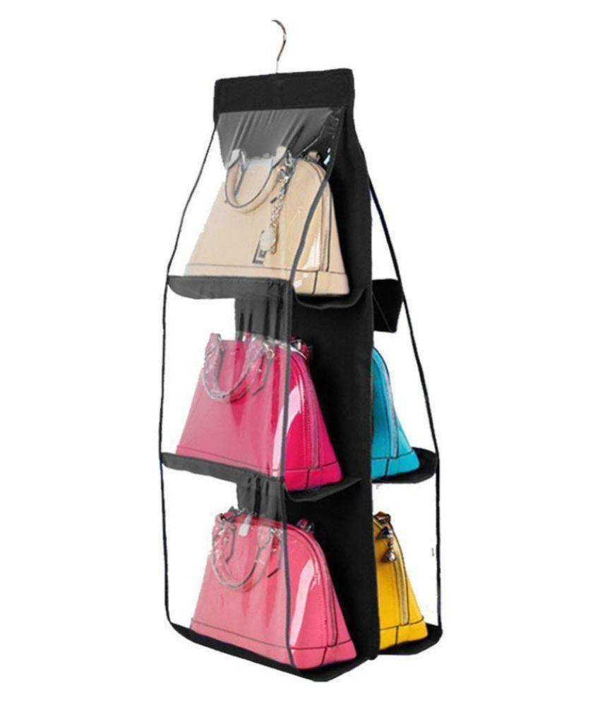 House of Quirk Hanging Handbag Organizer Dust-Proof Storage Holder Bag Wardrobe Closet for Purse Clutch with 6 Pockets (Black)