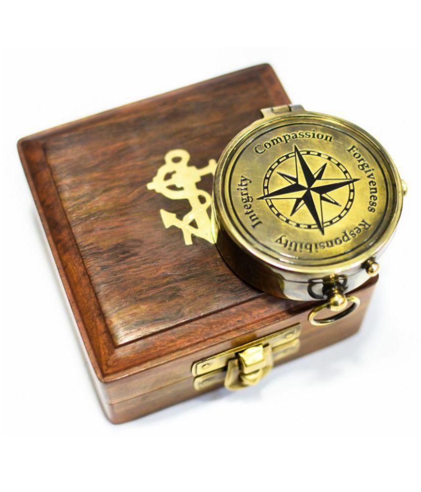 Jezara overseas nautical decor brass compass with wood box