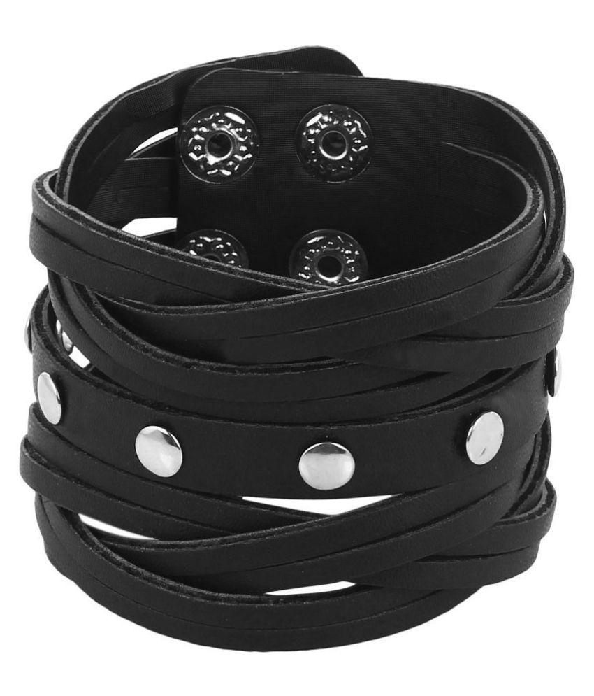 Goldnera Adjustable RuffNtuff Leatherite Leather Bracelet for Black Men & Boys