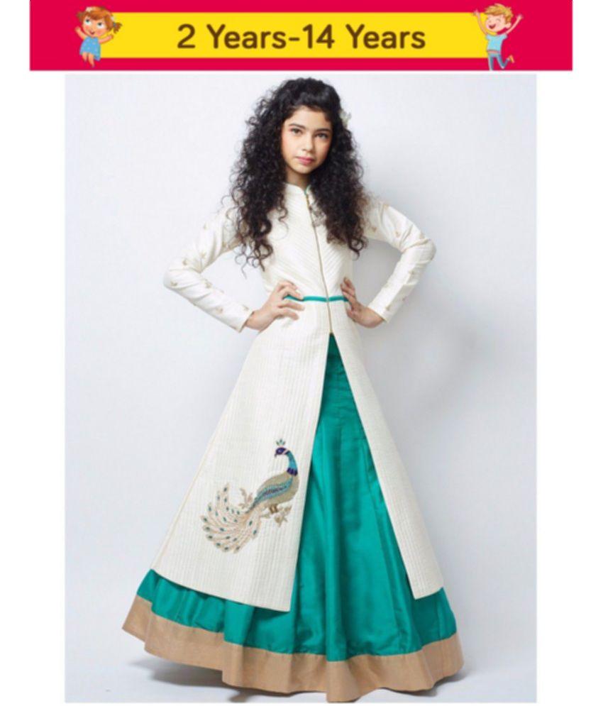 White Button New Designer Girl S White Foam Sheet Banglori Silk N Sea Green Indo Western Style Readymade Wedding Wear Lehenga Choli Dress Premium
